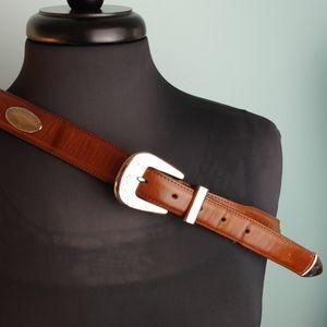 Western inspired belt genuine leather silver buckl